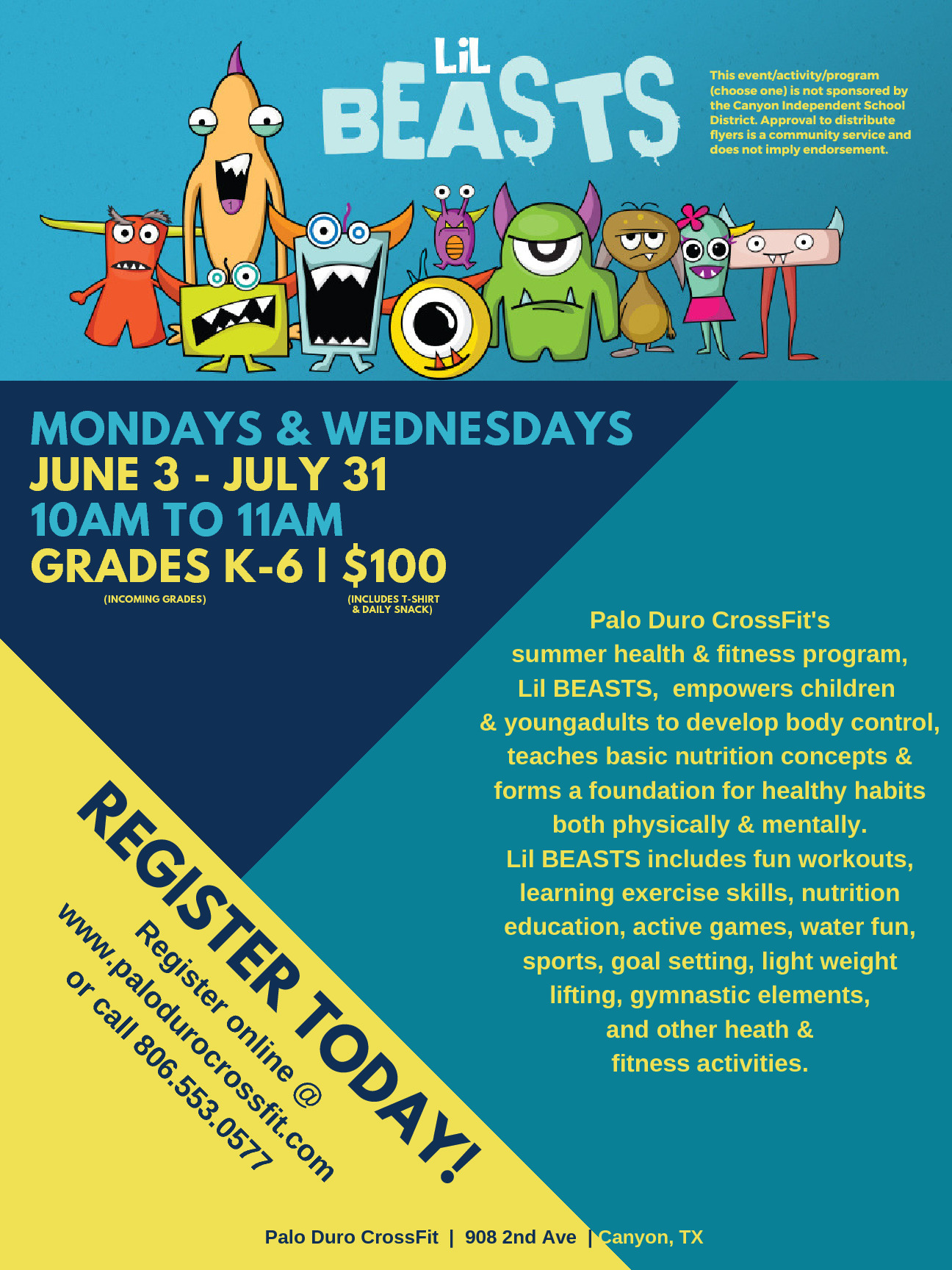 This is Summer Fitness Program for all students K 6 June 3 July 31 Mondays  Wednesdays 10 11am 100