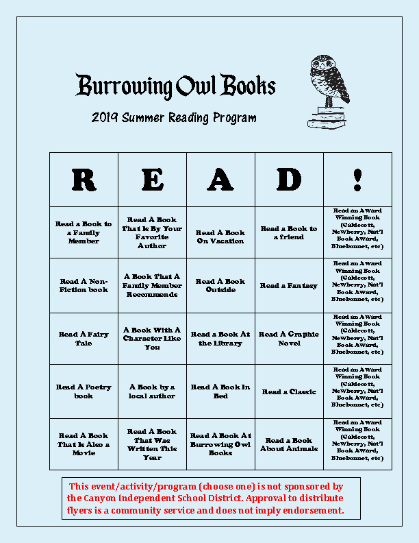 2019 Summer Reading Program for Burrowing Owl Books for students ages 1 years old   6th Grade