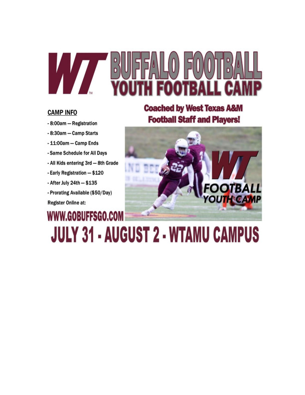 West Texas AM Youth Football Camp 2019