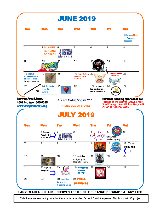 Canyon Area Library Summer Reading 2019 Calendar