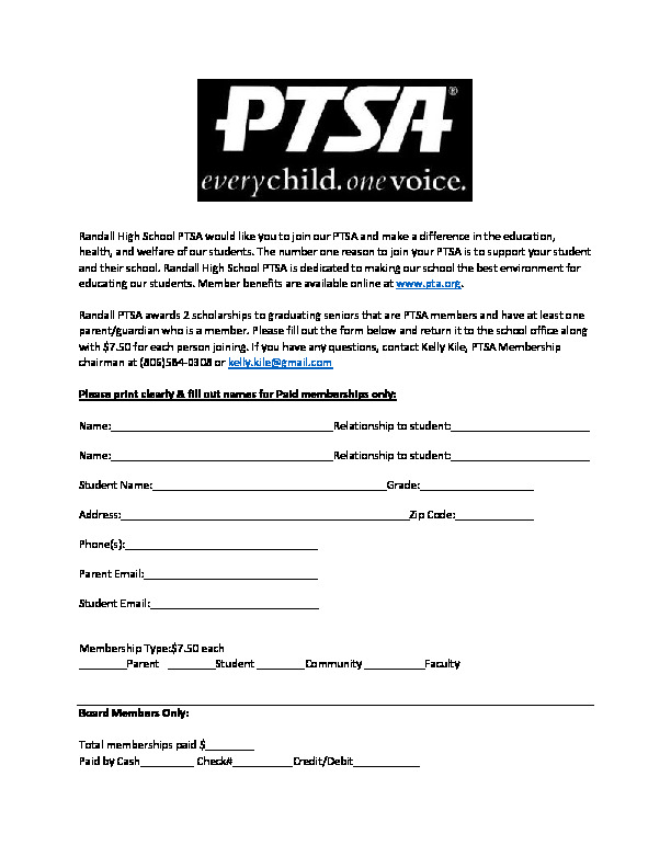 Randall High PTSA Membership Drive