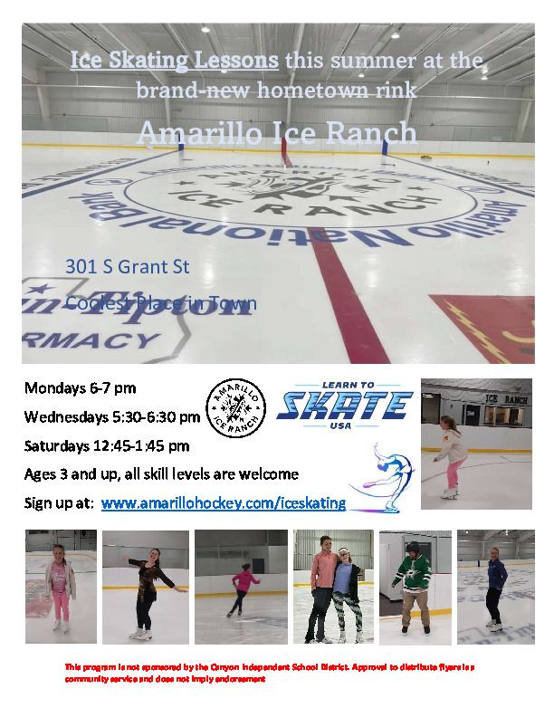 Summer 2021 Ice Skating Lessons at the Amarillo Ice Ranch