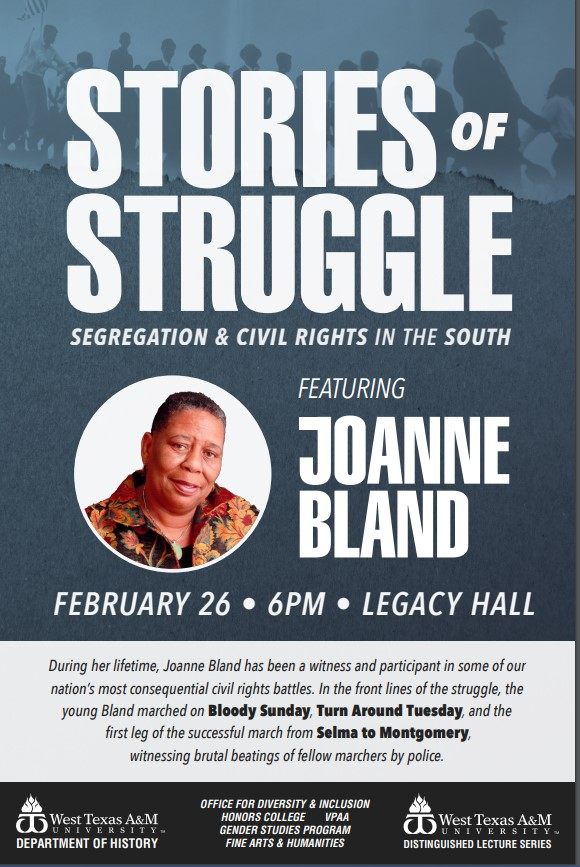 Joanne Bland talks about Civil Rights in the South in free and open to the public event 6 pm Feb 26 at WTAMU