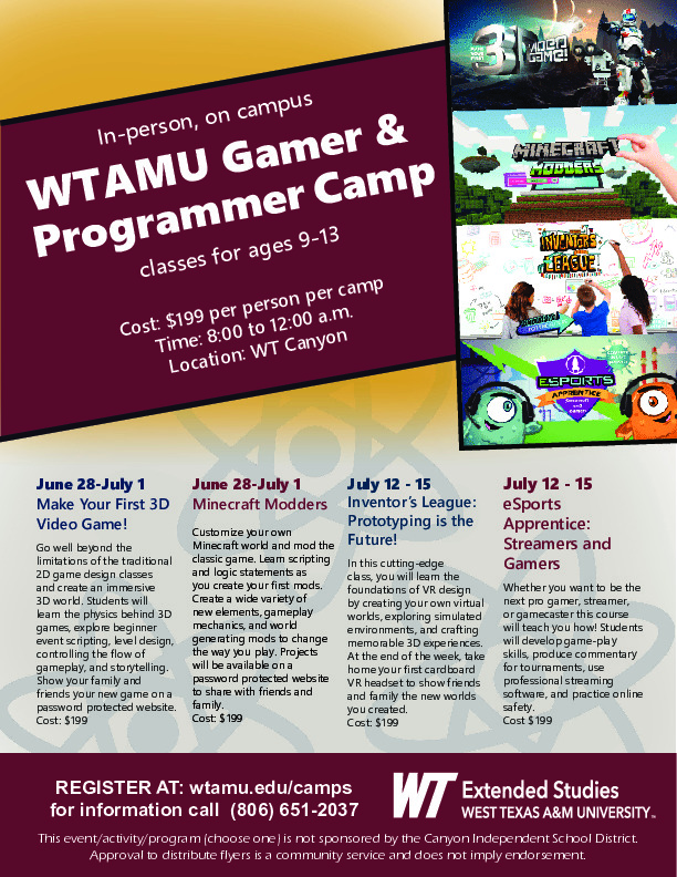 In person STEM summer camps for ages 9 13
