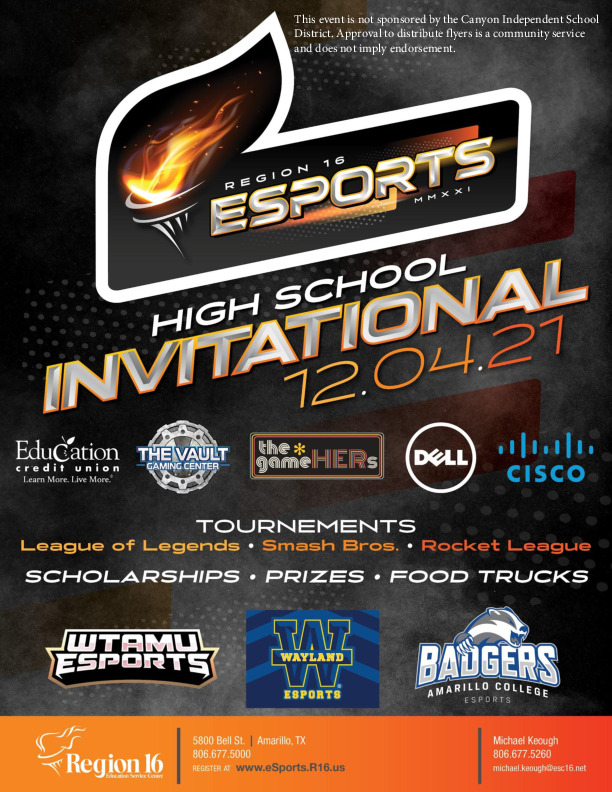 Region 16 will be hosting an eSports Invitational for students at Region 16 schoold districts