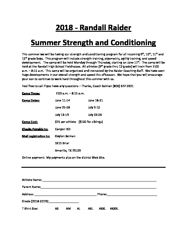 2018 Randall Raider Summer Strength and Conditioning Camp dates