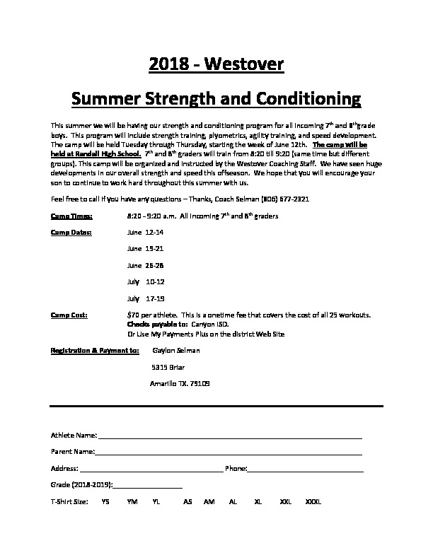 Westover Park JH Summer Strength and Conditioning summer camp dates