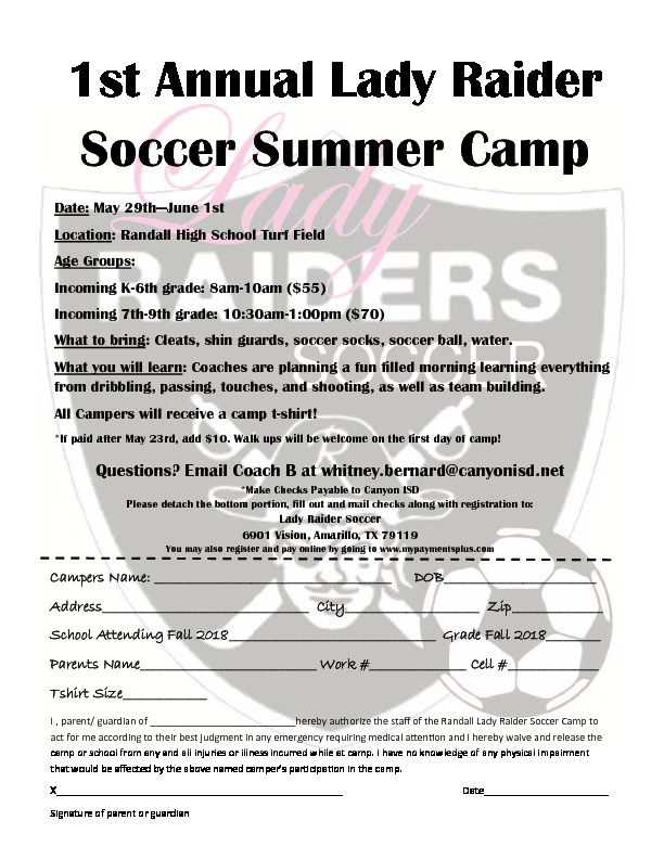 Raider Soccer Summer Camp is May 29th   June 1st