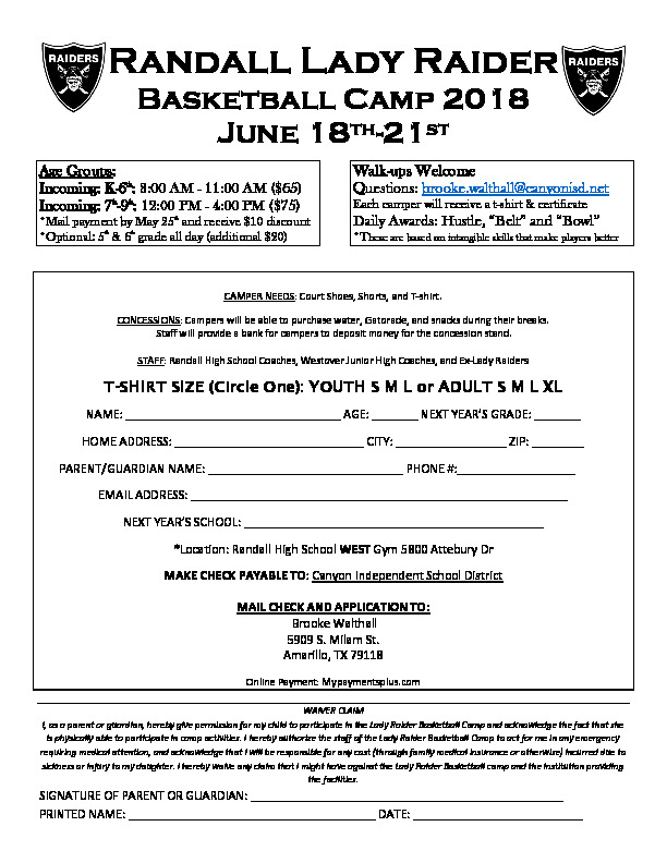 Randall Lady Raider basketball camp is June 18th   21st