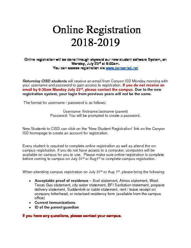 Online Registration Information for returning students and new students