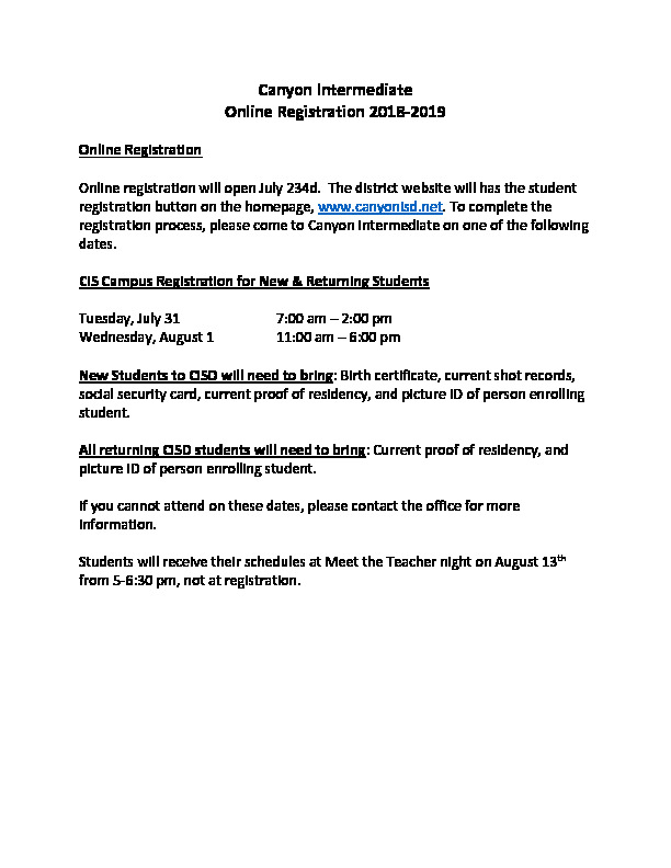 Canyon Intermediates flyer has registration dates and directions