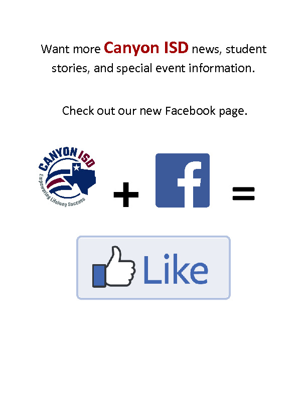 Canyon ISD now has Facebook  Take a moment and like us