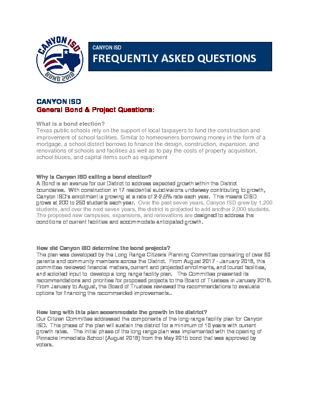 Frequently Asked Questions for the 2018 Bond Proposal