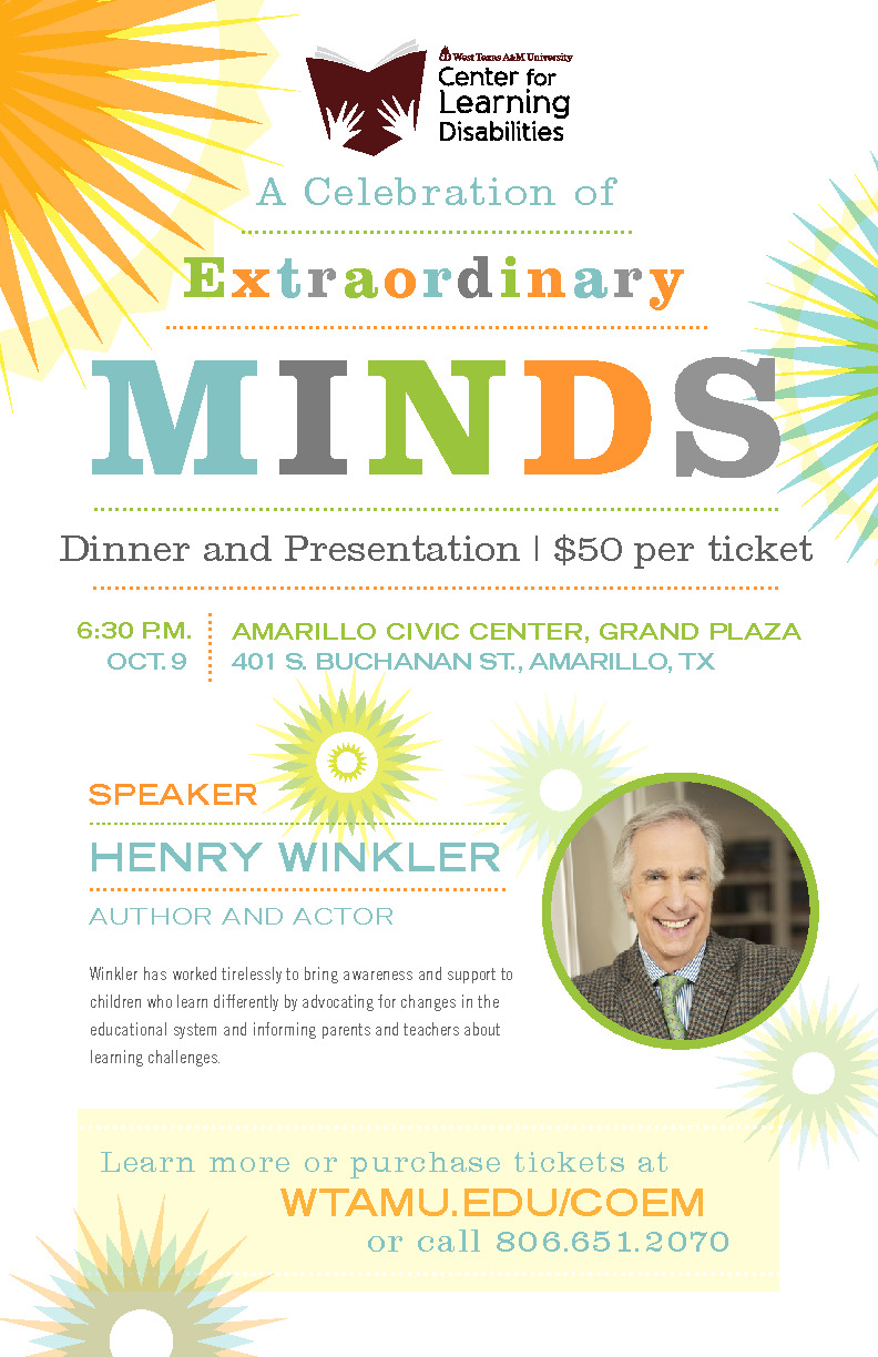 Speaker Henry Winkler will be talking about children who learn differently by advocating for changes