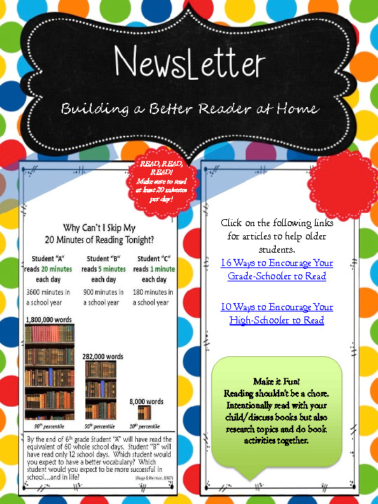 A newsletter that gives information on how to build a better reader at home