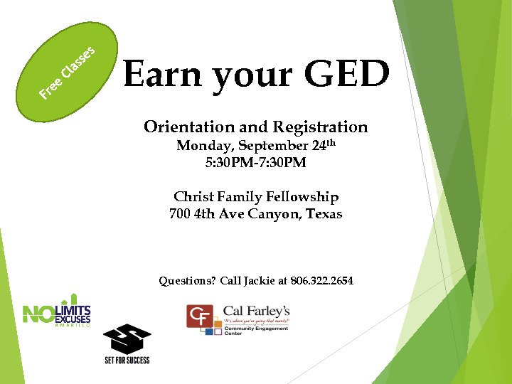 Earn your GED flyer on September 24th from 530   730 pm at 700 4th Ave in Canyon