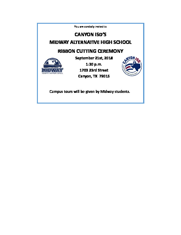 Midway Alternative HS has a ribbon cutting on Sept 21 at 130