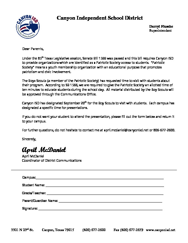 Letter to Parents about the opt out option for parents who do not want their student to visit with the Boy Scouts