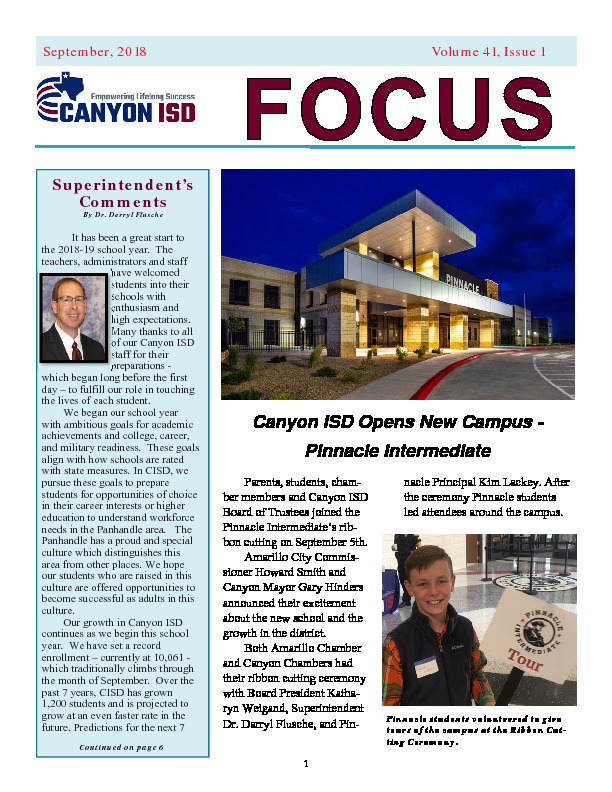 District Newsletter about updates and recognitions