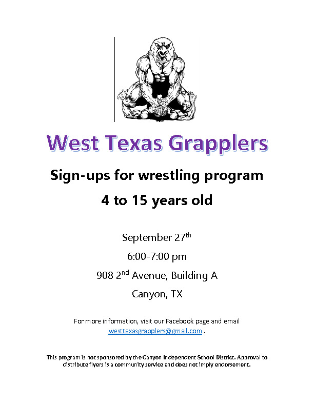 The West Texas Grapplers a wrestling program is having signups on Sept 27th from 6 7