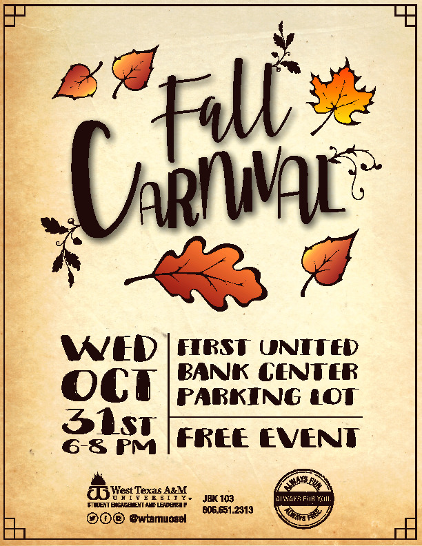 WT has a Fall Carnival on October 31st at First United Bank Center