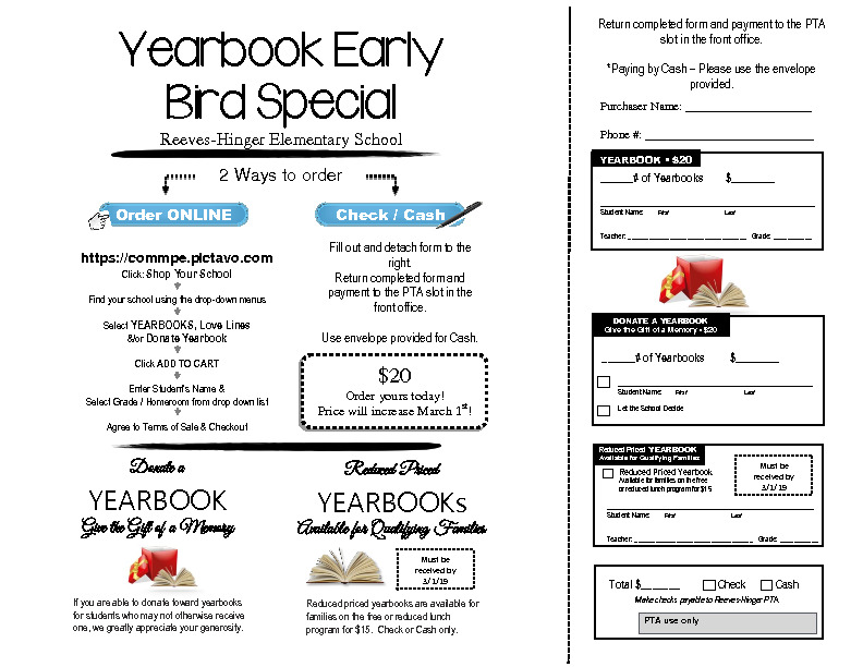 Reeves Hinger Yearbook order form