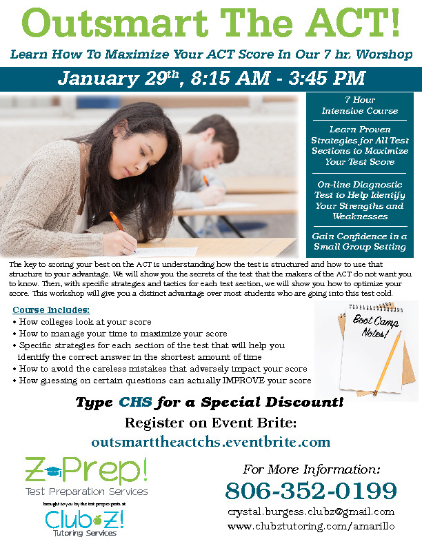 Learn how to maximize your ACT score by attending a workshop on Jan 29th