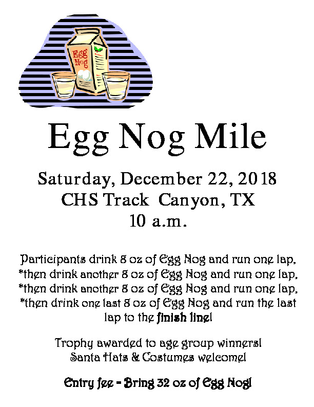 CHS will have an Egg Nog Mile competition on December 22nd at 10 00 am at the CHS Track