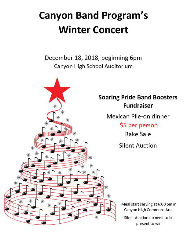CHS Band Winter Concert is Dec 18th at 600 pm  There is a fundraiser dinner bake sale and silent auction