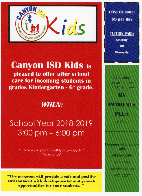 Canyon ISD Kids offers after school care for students in grades kindergarten through 6th grade