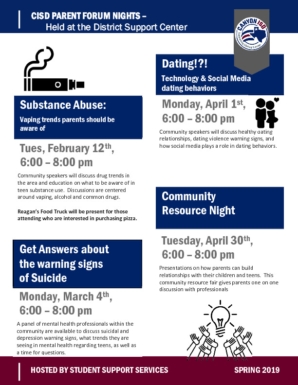 Canyon ISD Parent Forum nights will be discussing vaping suicide and dating