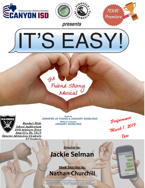 Greenways and Pinnacle Intermediate presents Its Easy The Friend Strong Musical on March 1st at 700 pm