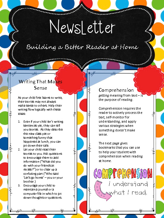 This is a newsletter for parents to help their students become a better reader