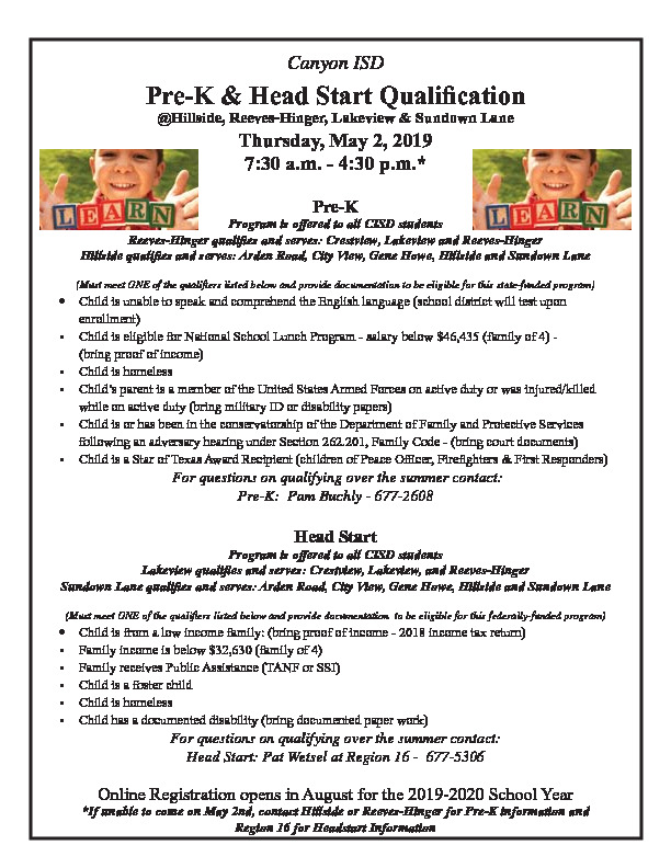 Canyon ISD Pre K  Head Start Qualification for Hillside Reeves Hinger Lakeview and Sundown Lane open May 2nd