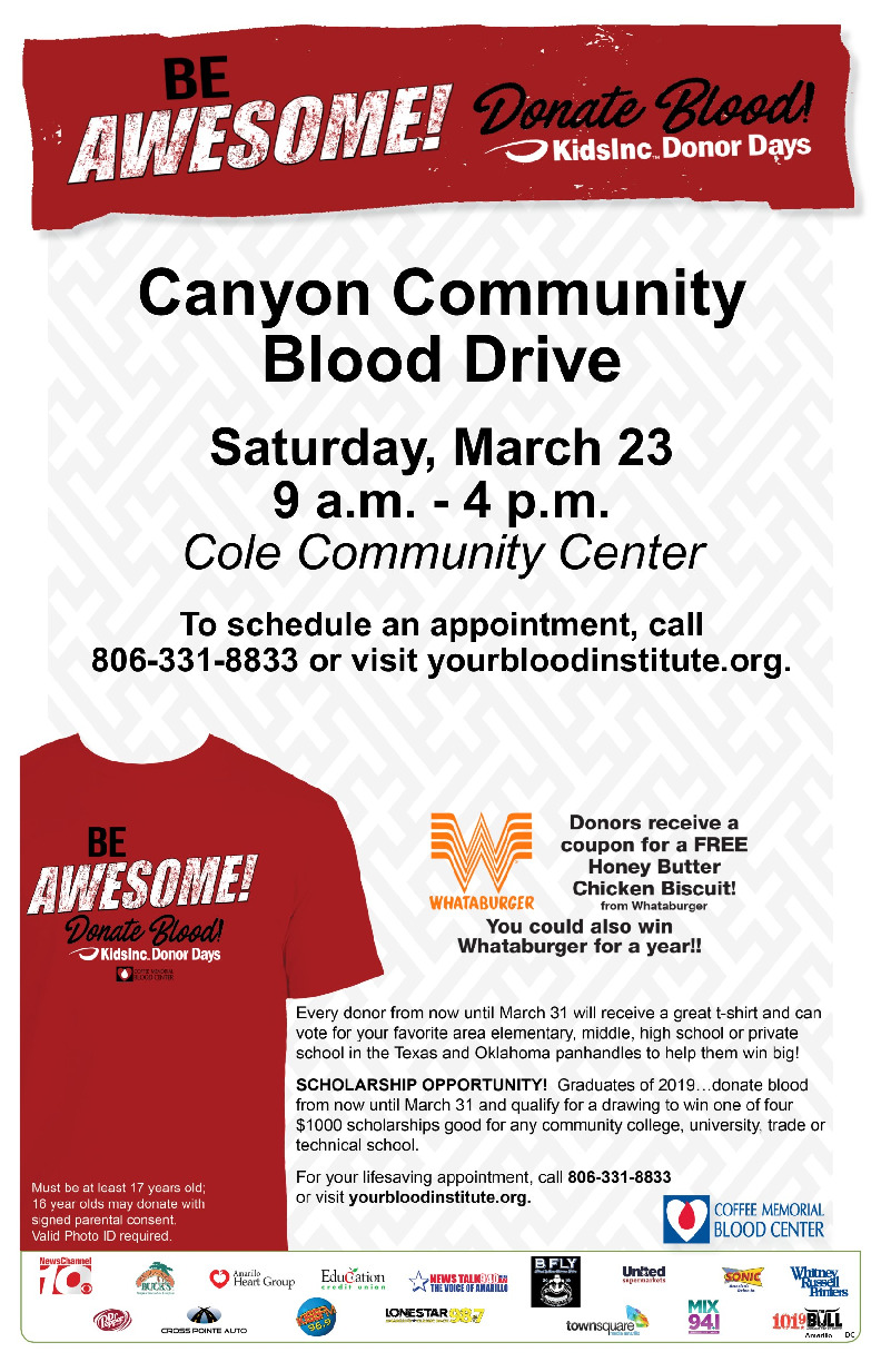 Canyon Community Blood Drive is scheduled for Saturday March 23 from 9 am to 4 pm