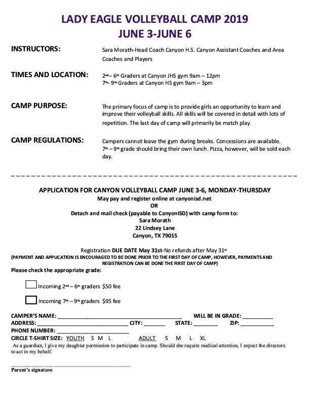 Canyon High School volleyball camp is June 3rd   6th