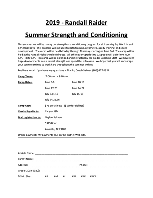 All summer Randall will be providing camps for strength and conditioning for high school boys
