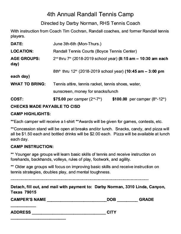 Randall Raider Tennis Camp is June 3rd   6th for incoming 3rd through 8th grade students