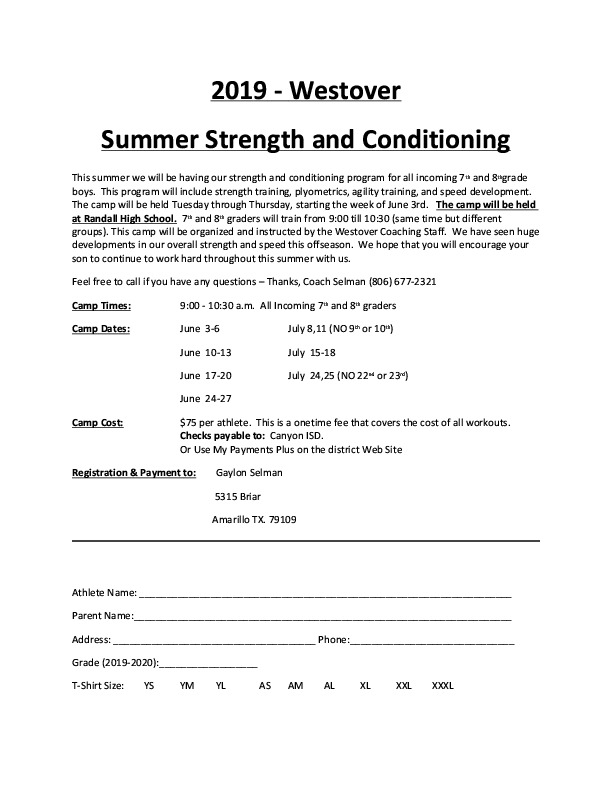 WPJH Summer Strength and Conditioning is all summer for incoming 7th and 8th graders
