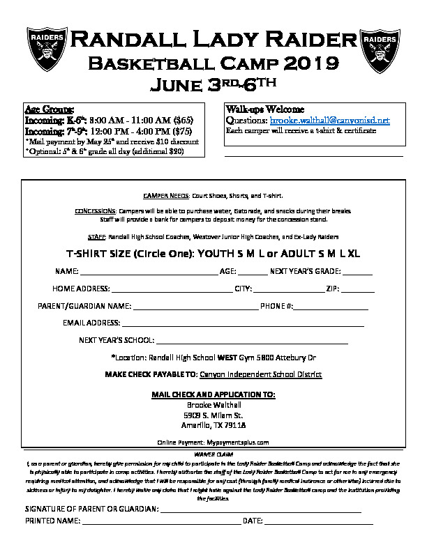 Randall High School basketball camp is June 3rd through 6th