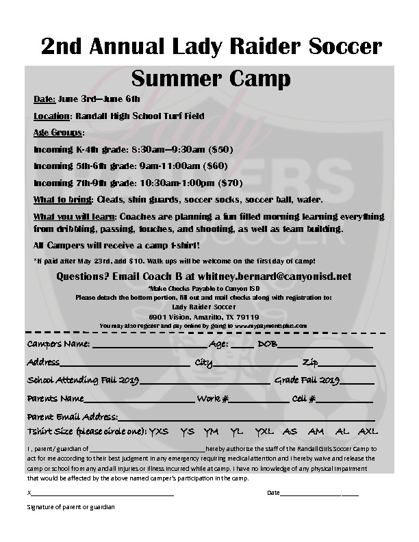 Lady Raider Soccer Camp is June 3rd through 6th for incoming Kindergarten through 9th grade