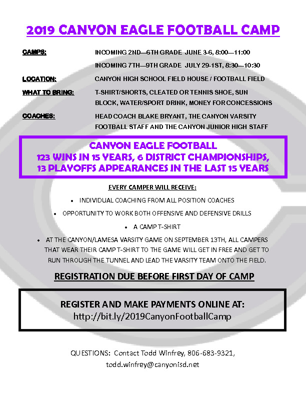 CHS football camp is June 3 6 for incoming 2nd through 6th grade and July 29th through August 1st for incoming 7th   9th