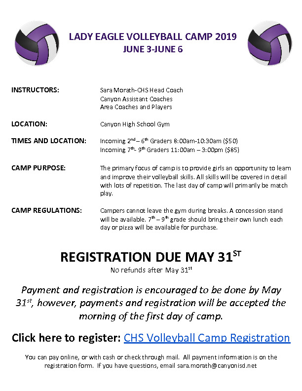 CHS Volleyball camp is June 3   6 for incoming 2nd through 9th graders