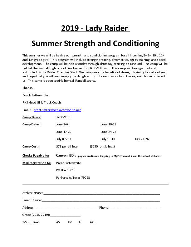 Lady Raiders summer strength and conditioning camps for incoming 8th grade through 12th grade