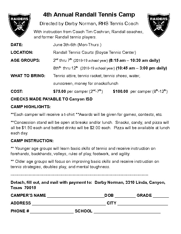 Randall HS tennis camp is June 3rd through 6th for 2nd grade through 11th grade
