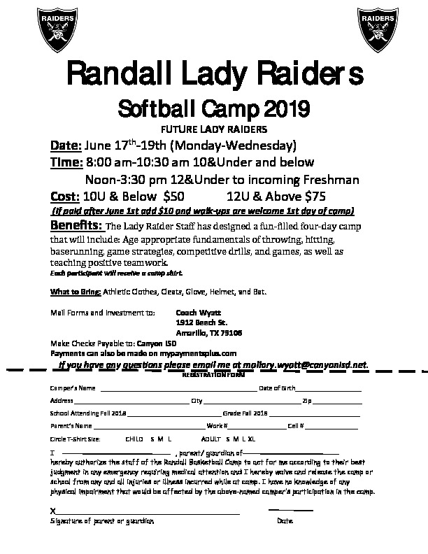 Randall Raider Softball Camp is June 17 through 19