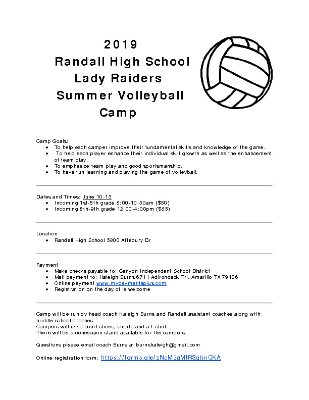 Raider Volleyball Camp is June 10   13 for incoming 1st through 9th grade