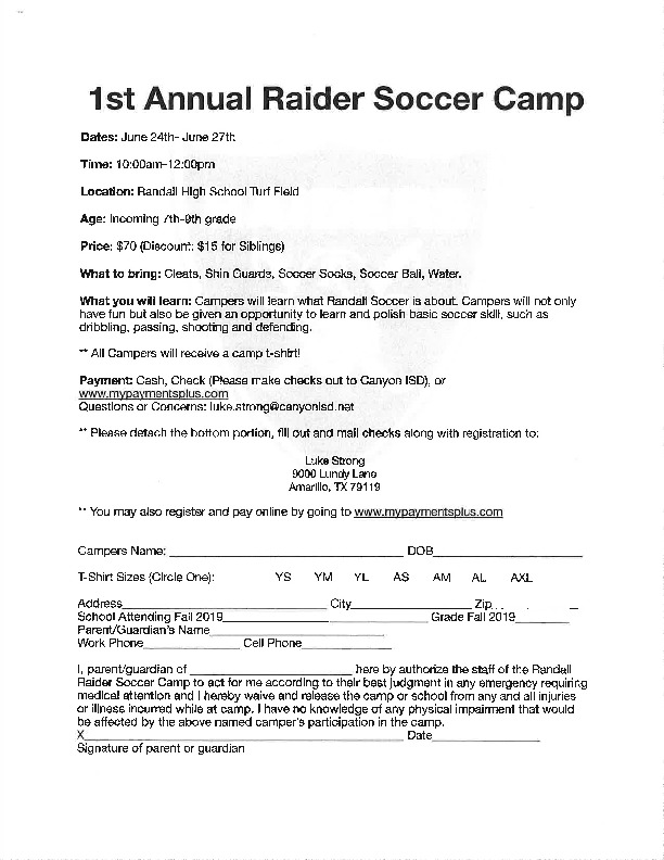 Raider Soccer camp starts June 24th through June 27th for incoming 7th   9th grade
