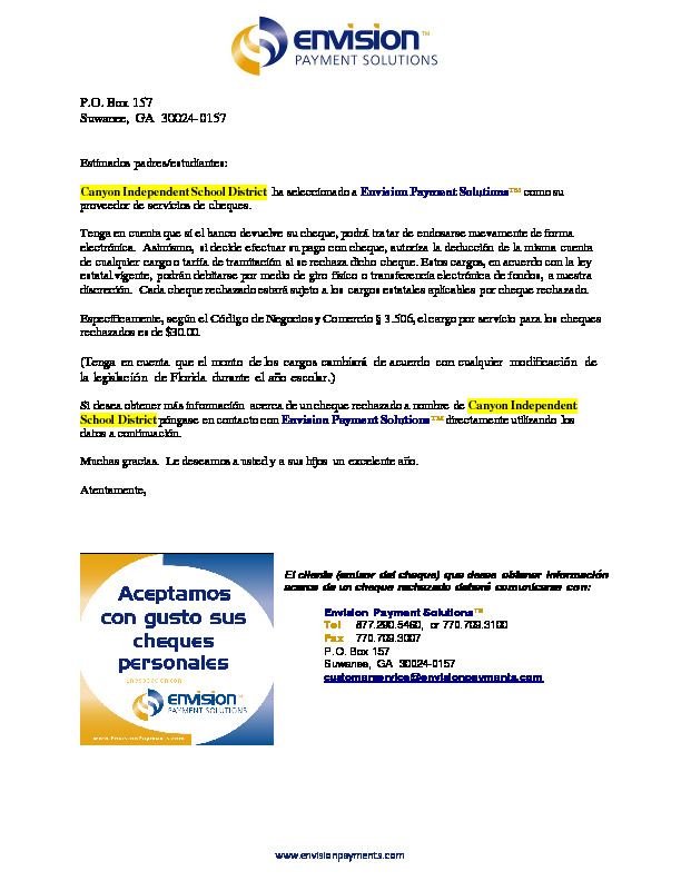 Canyon ISD Kids Payment Program flyer in Spanish