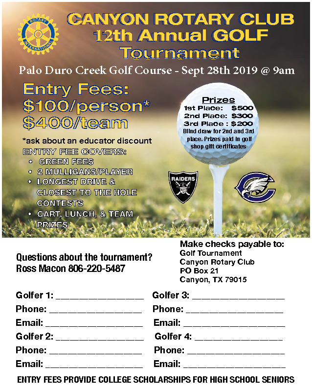 Canyon Rotary is having their 12th annual golf tournament providing scholarship for high school students